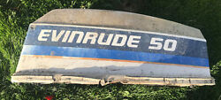 Evinrude 50 Hp 2 Cyl Outboard Motor Cover Cowling Top Marine Boat