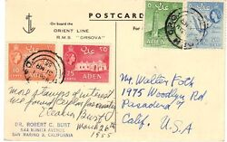 Aden 1955 Seapost P.c. Posted On Board R.m.s. Orsova