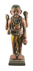 Antique Lord Shiva Statue Handcrafted Wood Carving Rare Unique Collectible Decor