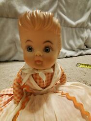 Vintage Toaster Cover Doll With Pink Checked Dress, Apron, Plastic Head