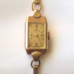 1938 Ladyand039s Rolex 9k Yellow Gold Mechanical Watch Factory Marked Case And Works