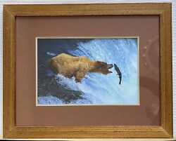 Original Galen Rowell Photograph Grizzly Bear Fishing Signed By Artist