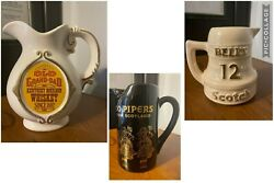 Set Of Bells Scotch - Old Grand Dad Bourbon Whiskey - 100 Pipers Scotch Pitchers
