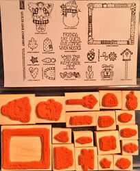 1995 Stampinand039 Up Quilts Give Comfort 17 Pc Rubber Ink Wood-mounted Stamp Set