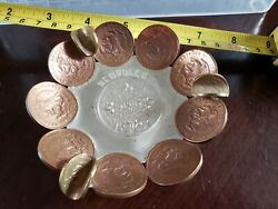 Ash Tray Made Out Of 20 Centavos And Unidos Mexican Coins