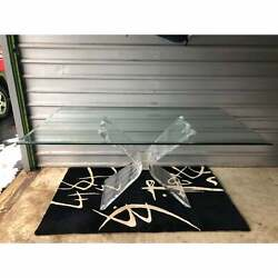 1970s Mid Century Lucite Butterfly Dining Table Attributed Lion In Frost