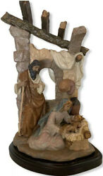 Lladro Humble Grace Retired Limited Edition Nativity Figurine On Wood Stand