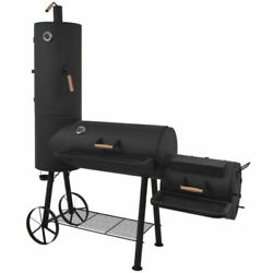Bbq Offset Smoker With Bottom Shelf Black Xxl Charcoal Barbecue Grill Black New