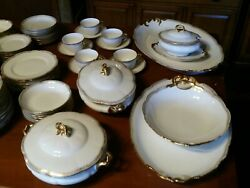 Stunning 78pc Antique Limoges Dinnerware Set. 2 Lrg. Platters And Covered Dishes