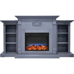 Cambridge Sanoma 72 In. Electric Fireplace In Slate Blue With Built-in Booksh...