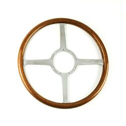 Moto-lita Classic Four 15 Inch Diameter 4 Spoke Wood Steering Wheel