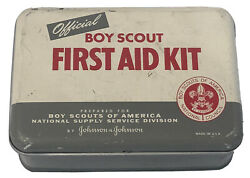 1956 Official Boy Scout Metal Hinged Tin Can First Aid Kit Johnson And Johnson