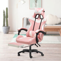 Pink Ergonomic Racing Gaming Chair Swivel Computer Desk Seat Leather Recliner Us