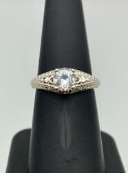 Genuine Round Cut Herkimer Diamond And Sterling Silver Antique Style Ring Size 7