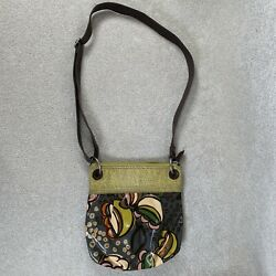 FOSSIL KEY PER Messenger Crossbody Shoulder Bag Floral Multi Colorcoated Canvas $22.00