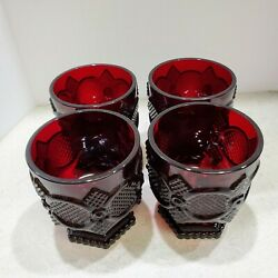 Four Avon Cape Cod Collection Footed Glass Set Ruby Red Tumblers