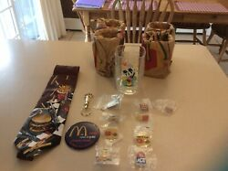 Mcdonalds Rare Collectibles. Glasses, Pins, Tie, Key Chain