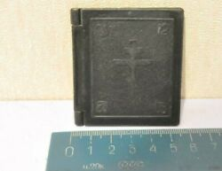 Beautiful Vintage Antique Book Icon With Prayer Black Used Hand Made