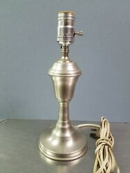 Vintage 11 Woodbury Pewterers Colonial Pewter Table Lamp, Connecticut