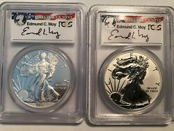 2013-w Reverse Proof/enhanced Moy 2 Coin Set Silver Eagle Pr70/ms70 First Strike