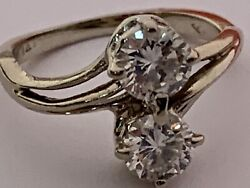 High End Vintage Solid 14k White Gold Diamond Ring Bypass Vs