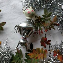 Samovar With Tiny Teapot Vintage Christmas Glass Ornament Made In Ussr 1960