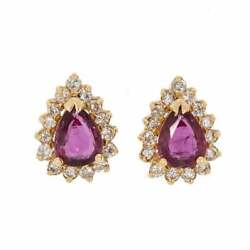 Vintage Gold Ruby And Diamond Ear Studs