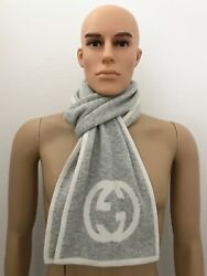 Menand039s Luxus-schal Knit Gg-scarf Cashmere Light Gray 70 7/8x9 1/8in New /