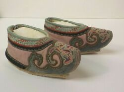 19th C. Chinese Silk Embroidered Bound Feet 5.25 Shoes