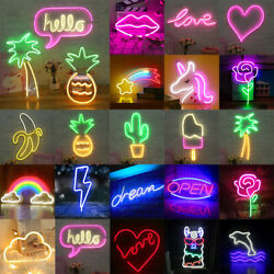 Neon Light Sign Led Usb Tabletop Night Lamp Room Home Party Decor Bulb Xmas Gift