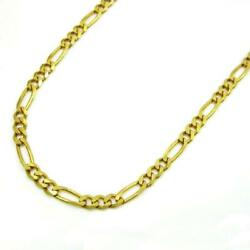 Mens Womens 14k Yellow Gold Classic Figaro Chain Necklace 5mm 20 - 30