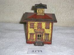 Rare J And E Stevens Large Size Cast Iron Still Bank - Red Black And Yellow