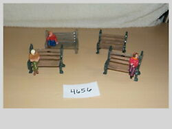 O Scale Hand Painted Resin Ouside Bench Lot W/3 Sitting People Figures 4656