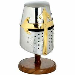 Replica Steel Mini Knights Helmet Crusader With Stand / Great For Fancy Dress