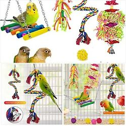 Katumo Bird Swing Toys 12 Packs Parrot Chewing Hanging Toys With Bells Rattan B
