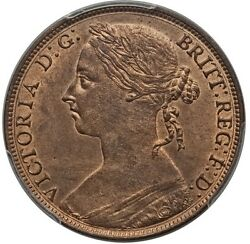 Great Britain Victoria 1886 Penny, Choice Uncirculated, Certified Pcgs Ms64-rb