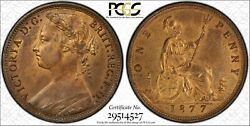 Great Britain Victoria 1877 Penny, Choice Uncirculated, Certified Pcgs Ms63-rb