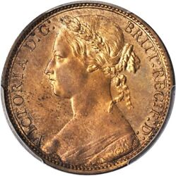 Great Britain Victoria 1876-h Penny Coin Uncirculated Certified Pcgs Ms64-rb