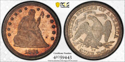 1876 Cc 25c Seated Liberty Quarter Pcgs Ms 64 Carson City Cac Approved
