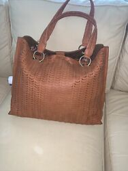 Anthropologie Large Leather Tote Purse With Zip Clutch Caramel Brown - New