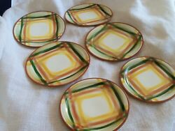 Vernon Kilns Homespun Pattern 4 Salad Plates And 2 Bread And Butter Plates