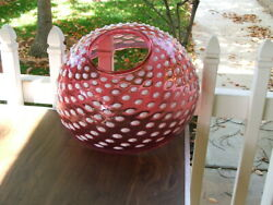 14 Cranberry Opalescent Hobnail Victorian Hanging Lamp Shade Gwtw Parlor Oil