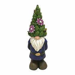 395855 Indoor/outdoor Gnome With Topiary Hat Figurine Statue For Garden Patio