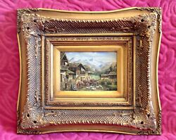 Antique Original Charles Brown Oil On Board Painting In Ornate Gilded Frame
