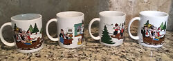 King Features Popeye And Friends Christmas Mugs 1980 Set Of 4