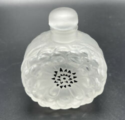 Lalique France Frosted Glass Dahlia Flower Perfume Bottle