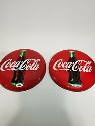 """2 Vintage Style 12"""" Round Red Coca-cola 1990 Classic Metal Coke Button Signs"""
