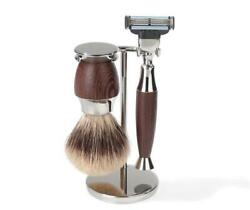 Shaving Set With Silvertip Badger Brush And Wedge Wood Handles By Erbe, Germany