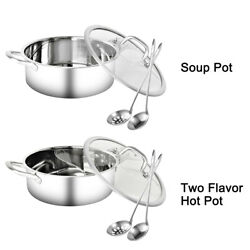 Hot Pot Set Dining Dual Handle With Lid Stainless Steel Restaurant Soup