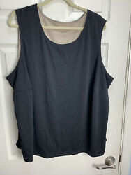 Sag Harbor Reversible Plus Size 3x Beige And Black Dressy Stretch Cami Tank Top